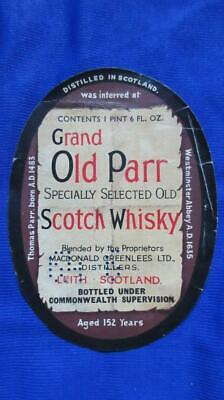 1950's Circa Grand Old Parr Scotch Whisky Label Bottled in Scotland Bottle Label