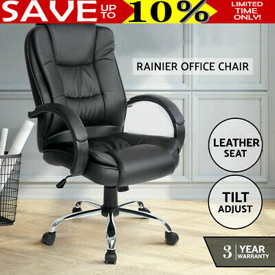 Black Office Chair Computer Executive Chairs PU Leather Work Seat AU STOCK