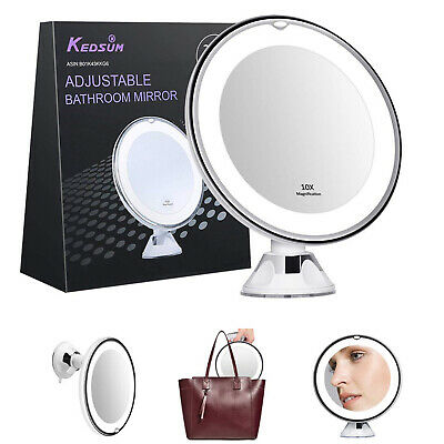 10x Magnifying Makeup Vanity Cosmetic Beauty Bathroom Mirror LED Light Shaving