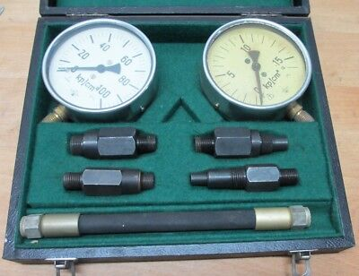 Manometer Druckmessmanometer Eichmanometer Set DDR 15 u. 100 Kp/cm² = 100 mm