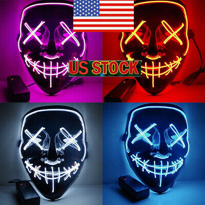 Halloween LED Glow Mask 3 Modes Wire Light Up The Purge Movie Costume Party @US