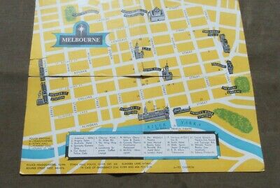 Circa 1970's Visitors' Map Of Melbourne With The Compliments Of Vic. Police Dep.