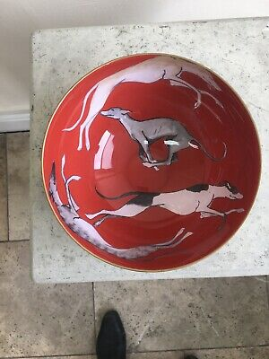 GREYHOUND WHIPPET LURCHER Small Glass Bowl -unusual In Every way 20 Cm ,9cm High