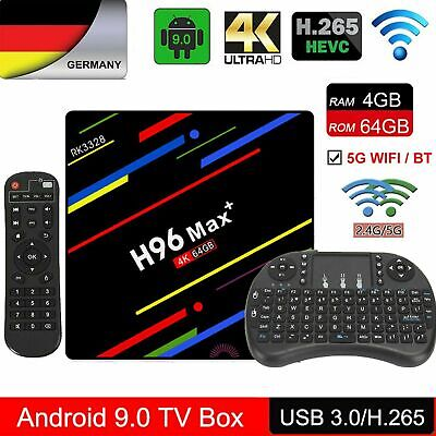 DE 4GB/64GB H96 MAX Plus Android 9.0 Smart TV Box Quad Core USB 4K + Keyboard FO