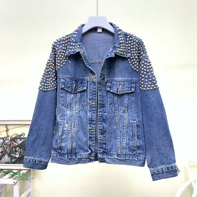 2020 Autumn Women Basic Coats Female Denim Jacket Pearls Beading Fashion Jeans