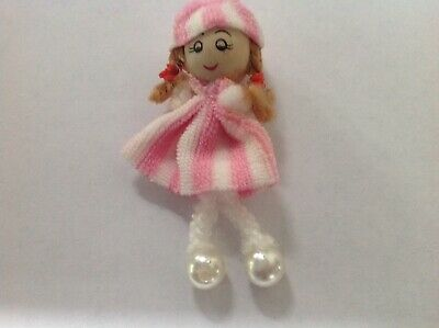 1:12 Scale Pink & White Rag Doll With A Wooden Head Tumdee Dolls House Accessory