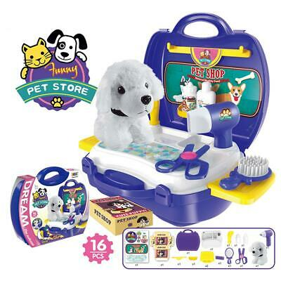 Kids Pretend Play Puppy Dog Store Grooming Pet Salon Set Carry Case