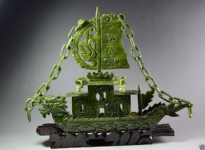 Chinese Hand Carved 100% Natural Jade Dragon statue Dragon Boat