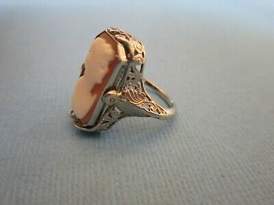 Antique Art Deco Onyx Diamond Cameo 14K Gold Filigree Reversible Flip Ring Sz 5