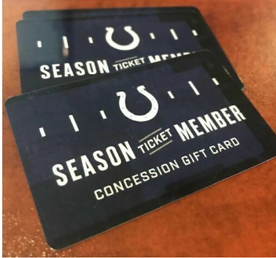 NFL Indianapolis Colts 2019 Concession Gift Cards--$188 Value