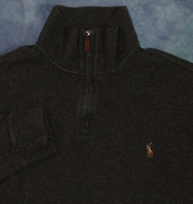 POLO RALPH LAUREN MENS 1/2 ZIP COTTON PULLOVER SWEATER GREY w/ BROWN PONY LARGE