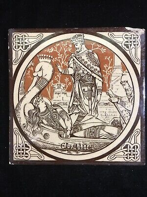 Minton Moyr Smith Brown 'IDYLLS OF THE KING - ELAINE' 6 x 6 TILE - Rare!