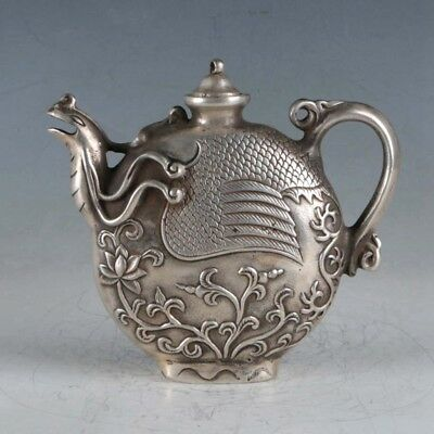 Collection decoration Old Tibetan Silver Hand Carved Phoenix Shape Teapots