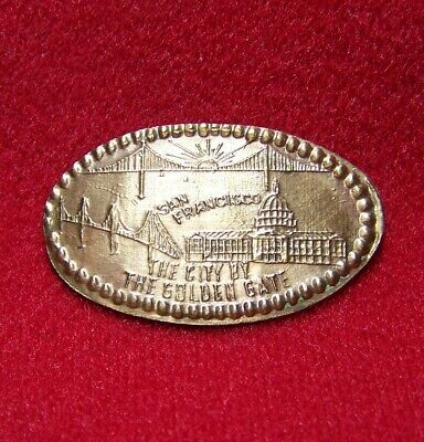 San Francisco The City By The Golden Gate Cu/copper souvenir elongated penny