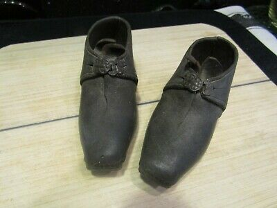 "Stunning Antique Child's Leather/Wood Lancashire Clogs Shoes 5.5"" - 19th Century"