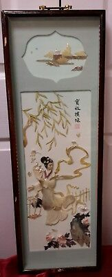 Vintage Chinese/Japanese/Asian 3D Mother of Pearl Shadow Box-Very Good Condition