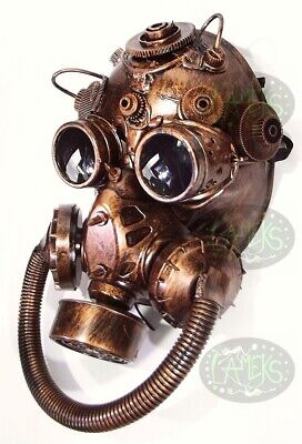 MASCHERA INTERA STEAMPUNK ANTIGAS cyberpunk halloween horror colore bronzo