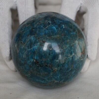 "4.47LB 4.1"" Natural Blue Apatite Crystal Sphere Ball Polished Healing China"
