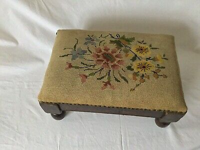 Vintage Antique Footstool Tapestry Padded Top Brass Tack Edging
