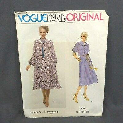 VTG VOGUE Paris Pattern 1876 Original Misses' Dress Sz 10 Emanuel Ungaro 1970's