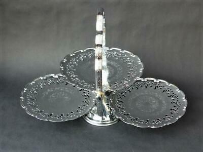 Vintage Three Tier Folding Cake Stand, 1960's + Mayell Stainless Cake Stand