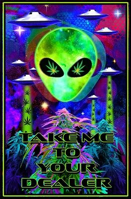 Take Me To Your Dealer - Weed Blacklight Poster - 23X35 Flocked 53343
