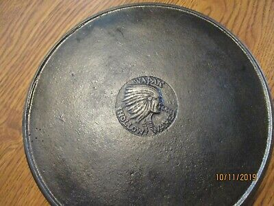 Vintage Antique Wapak #8 Hollow Ware Indian Head Cast Iron Skillet W/Heat Ring