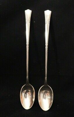 """Two Vintage Gorham Sterling Silver Ice Tea Spoons Greenbrier Pattern 7 1/2"""" Long"""