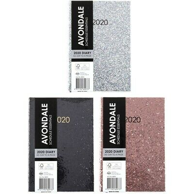 Avondale 2020 Day To Page A5 Glitter Diary - Assorted*