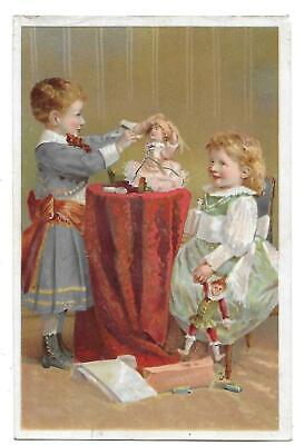 Victorian Trade Card Dr Schenck's Pulmonic Syrup Cure Remedy Boy Examining Doll