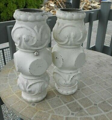 VINTAGE Architectural Salvage Iron Porch Post Column Pieces  SET OF 2