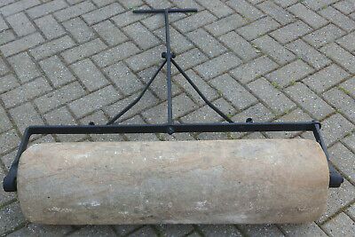 HEAVY ANTIQUE SOLID SANDSTONE WROUGHT IRON GARDEN ROLLER  - Victorian or earlier