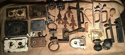 a large job lot of antique vintage victorian door locks, handles, knobs, latches