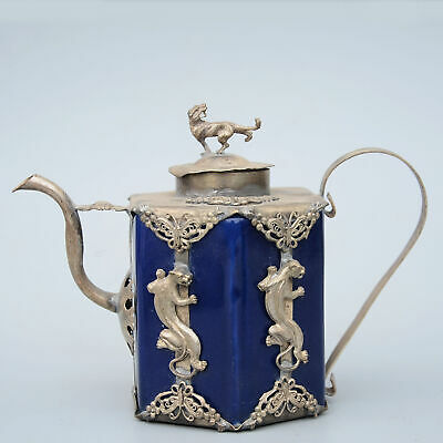 Collectable China Tibet Silver Handwork Carve Vivid Tiger Delicate Royal Teapot