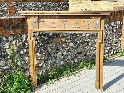Antique Neoclassical Design Ash and Gesso Chimneypiece - Fire Surround