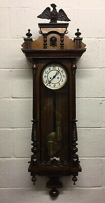 Antique 19th Century Vienna Double Weight Wall Clock With Eagle Finial