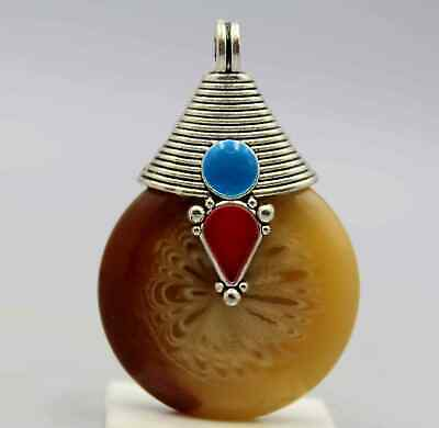 Collect China Tibet Culture Handwork Miao Silver Carving Agate Beautiful Pendant