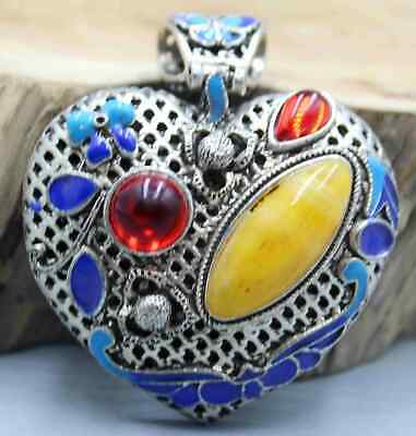 Collect China Tibet Culture Handwork Miao Silver Mosaic Agate Delicate Pendant