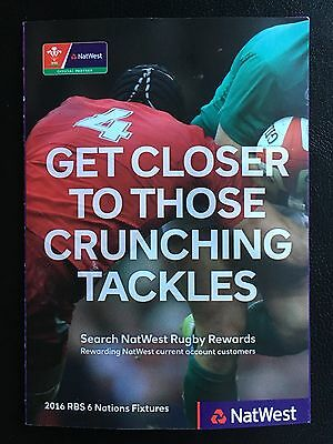 Wales RBS Six Nations 6 Rugby Fixtures Booklet Natwest 2016