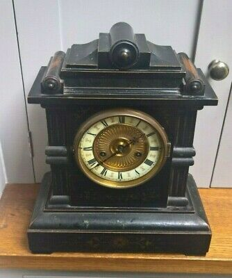 "Ebonised and gilt HAC German Vintage large striking mantle clock - 15"" high"