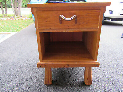 Vtg Brandt Ranch Oak Side Table Night Stand Horse Shoe