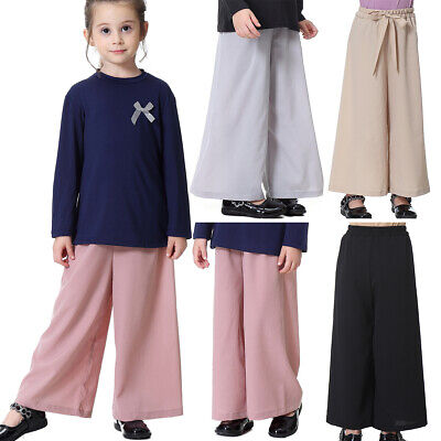 Autumn Trousers Pants Loose Elastic Waist Long Baggy Toddler Palazzo Girls