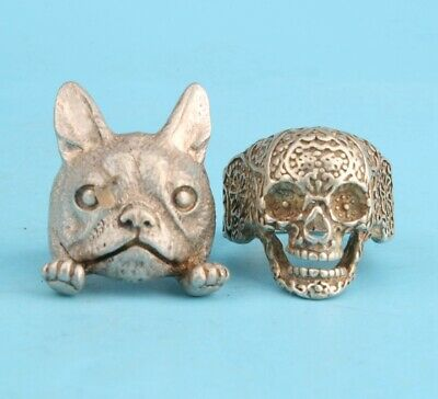 2 Retro China Tibetan Silver Hand-Carved Dog Skull Statue Ring Old