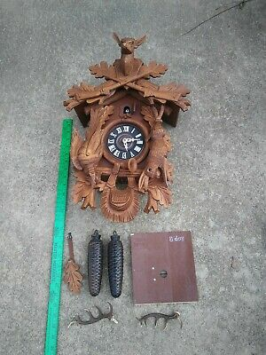 german black forest hunter cuckoo clock large size untested 8 Day