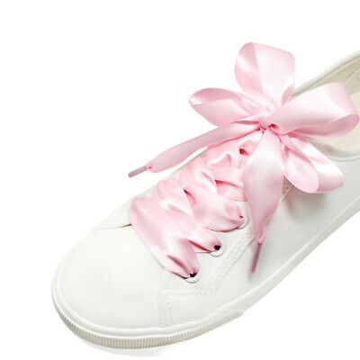 1Pair Colored Flat Silk Ribbon Shoelaces Shoe laces Sneaker Party Rope Strin WCS