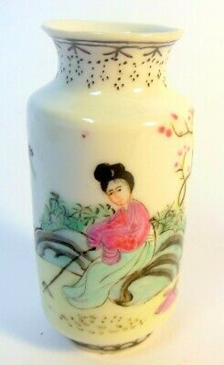 "Antique Chinese MINIATURE Signed Porcelain Vase Hand Painted Woman 3"" h"