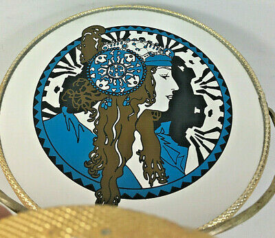 Mid Century Carnival Mirror Table Top Art Deco Litho