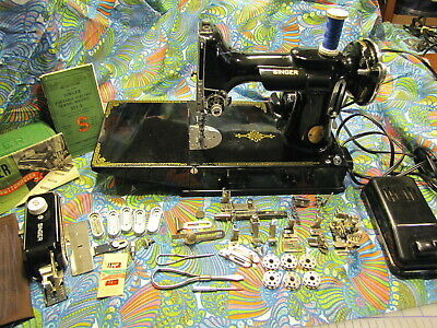 Singer Feather Weight Sewing Machine 221-1 Long Bed Usa 1938