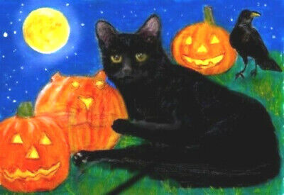 BCB Black Cat Halloween Pumpkins Print of Painting ACEO  Golden Paw Cat Charity