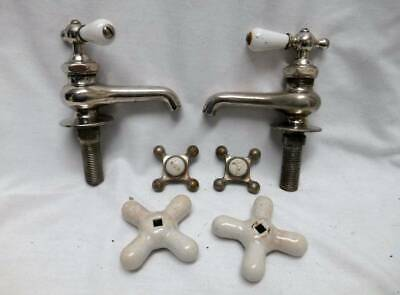 3 sets Farm House OLD Porcelain Bathroom Sink Faucet Handles Fixtures HOT COLD